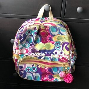 Multi colored coach backpack